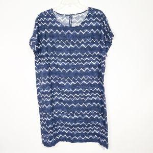 Old Navy Blue Tie Dye Chevron Stripe Dress L